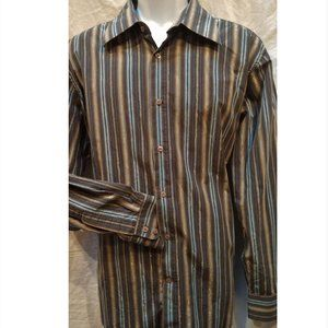 Casual Gray Brown Blue Silver Long Sleeve Men's 2XL Button Shirt